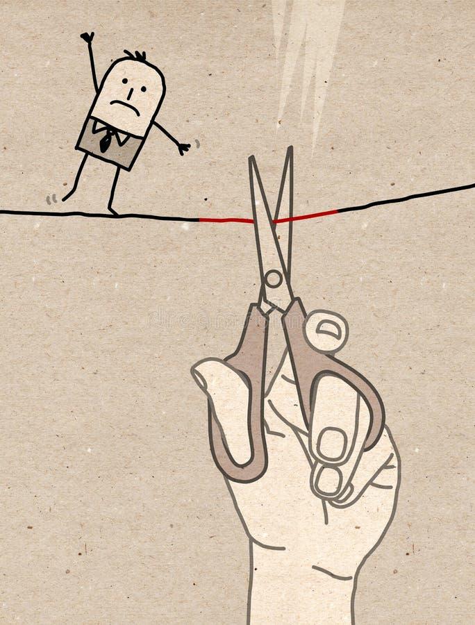 Grande main - coupure du fil illustration de vecteur