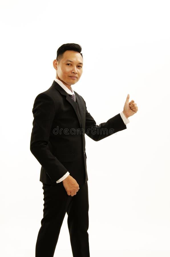 Grande main d'affaires d'exposition asiatique d'homme d'isolement sur les milieux blancs photos stock