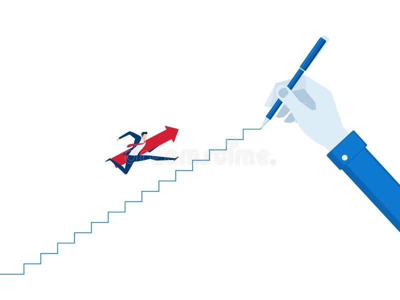 Grande main d'homme d'affaires traçant une ligne menant au but L'homme d'affaires avec le saut rouge de signe de flèche sur les e illustration stock
