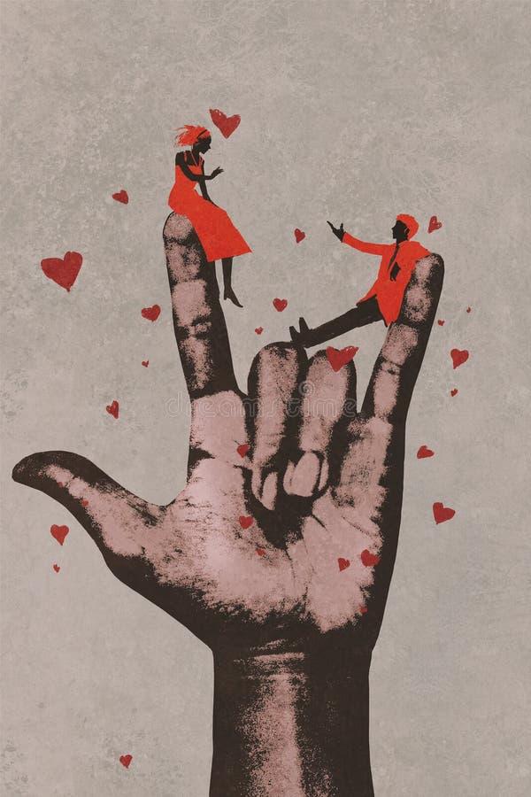 Grande main dans JE T'AIME le signe avec les couples romantiques illustration libre de droits