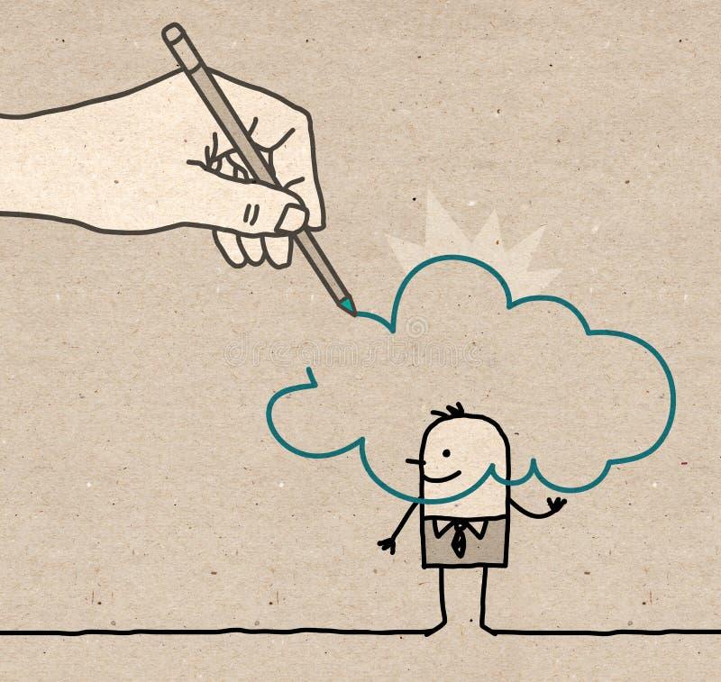 Grande main - dans le nuage illustration de vecteur