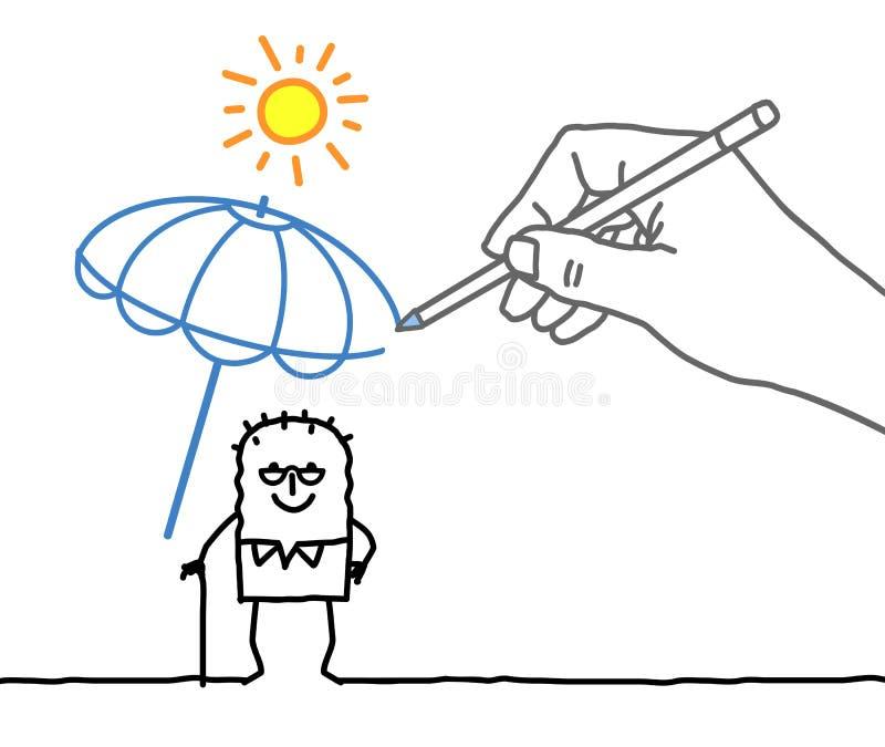 Grande main et personnage de dessin animé de dessin - protection contre la chaleur illustration stock