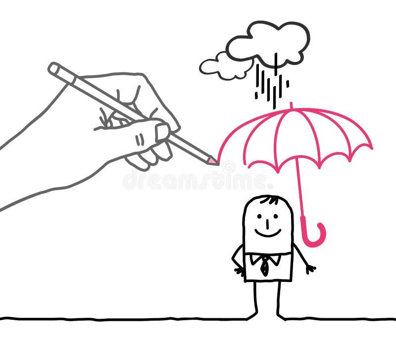 Grande main et personnage de dessin animé de dessin - protection contre la pluie illustration stock