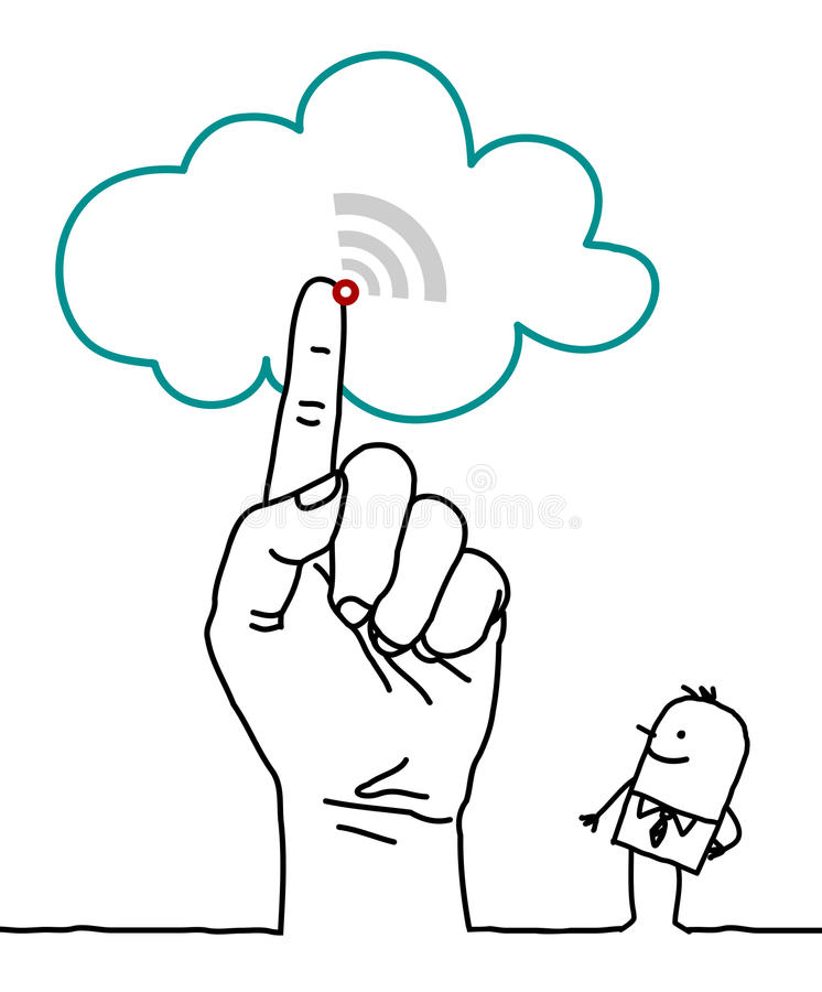 Grande main et personnages de dessin animé - le nuage illustration de vecteur