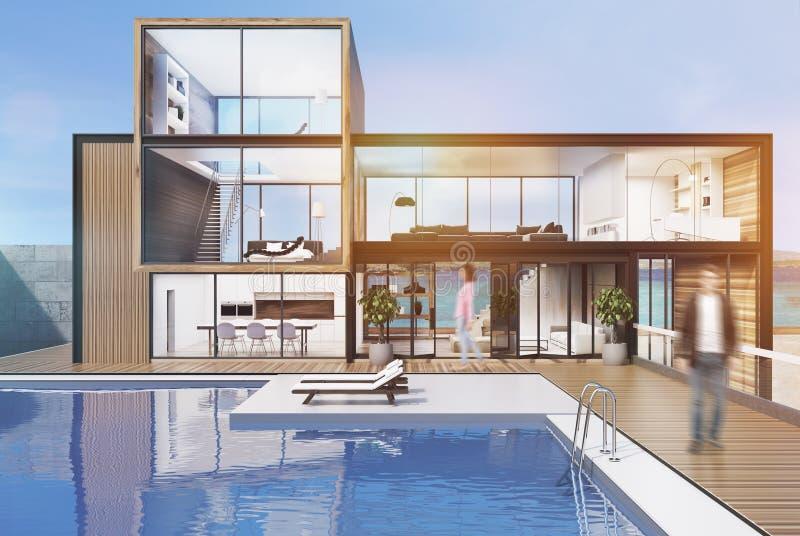 Grande maison avec une piscine, homme, modifié la tonalité illustration stock