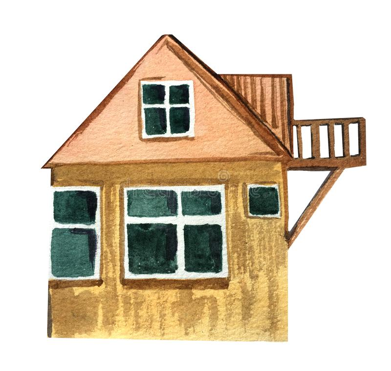 Grande maison de village avec un balcon Illustration d'aquarelle pour la conception illustration stock