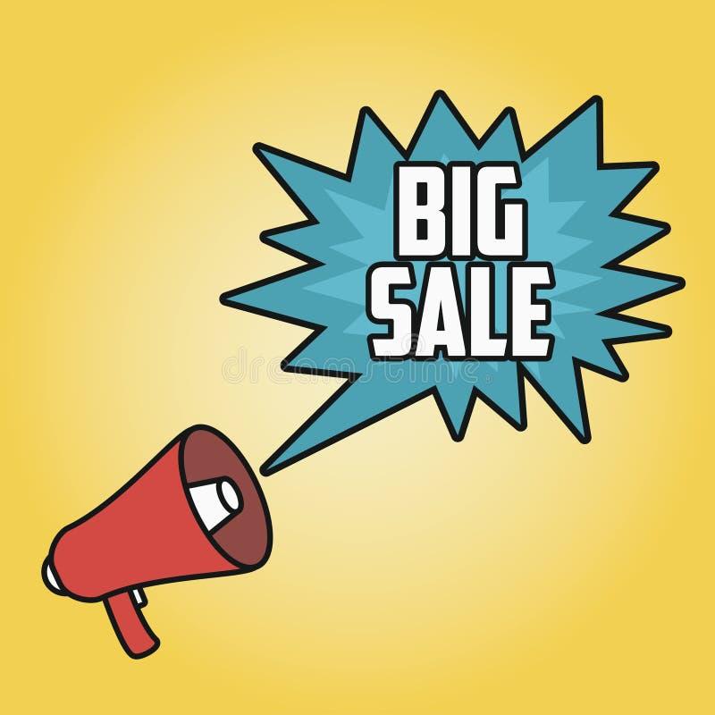 Grande manifesto di vendita con il megafono Altoparlante con la bolla illustrazione di stock