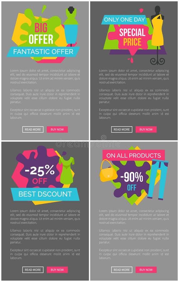 Grande manifesto fantastico di promozione di prezzi speciali di offerta illustrazione di stock