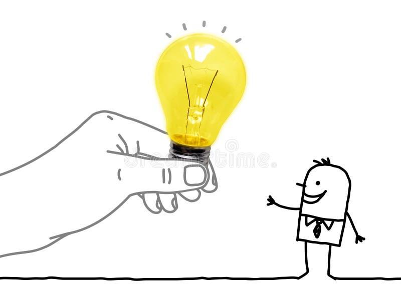 Grande mano del fumetto che dà una lampadina ad un uomo del fumetto fotografie stock