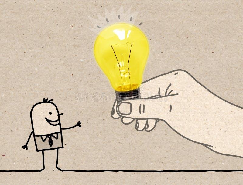Grande mano del fumetto che dà una lampadina ad un uomo del fumetto fotografia stock libera da diritti