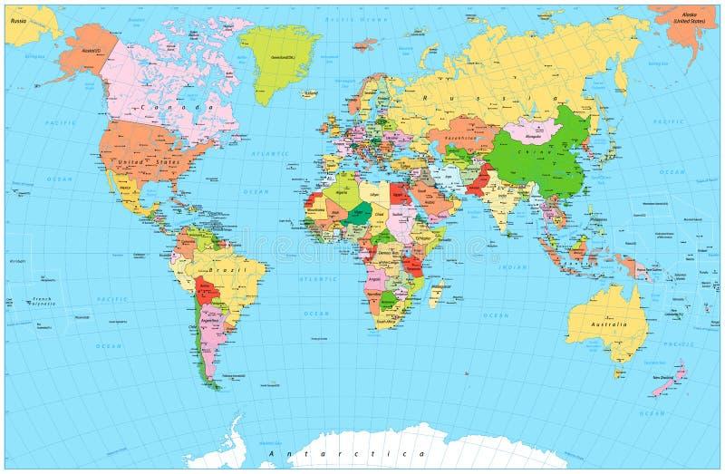 Grande mapa do mundo político detalhado com objetos da água ilustração stock