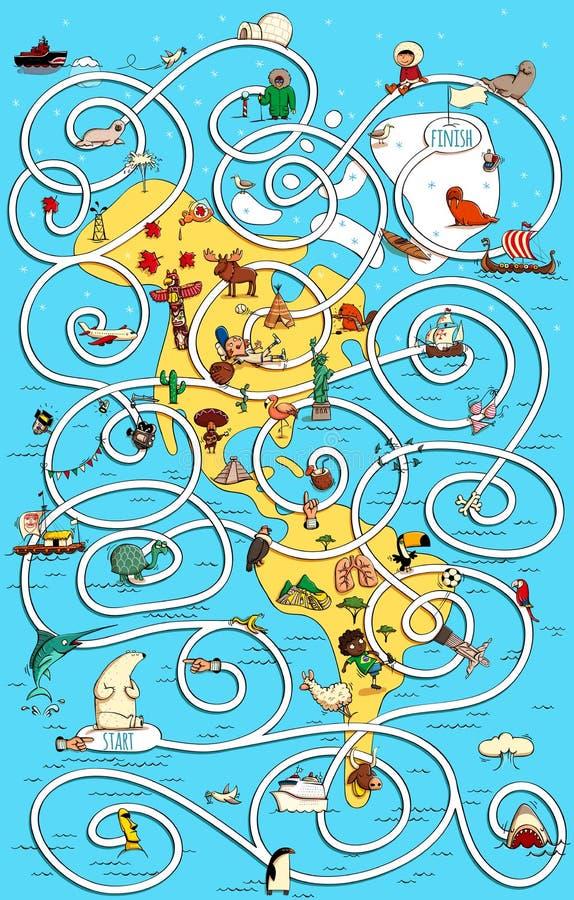 Grande Maze Game dell'America di viaggio Trovi la via di casa giusta per il pola royalty illustrazione gratis