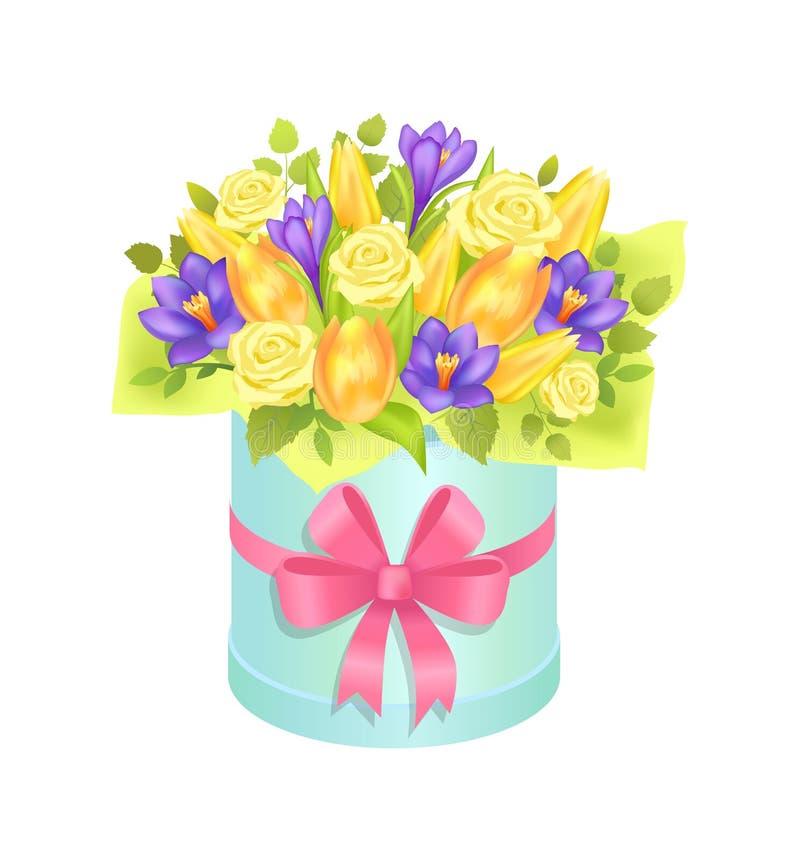 Grande mazzo sveglio con il manifesto variopinto dei fiori vari royalty illustrazione gratis
