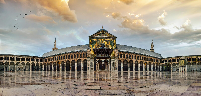 Grande mesquita de Umayyad de Damasco fotografia de stock