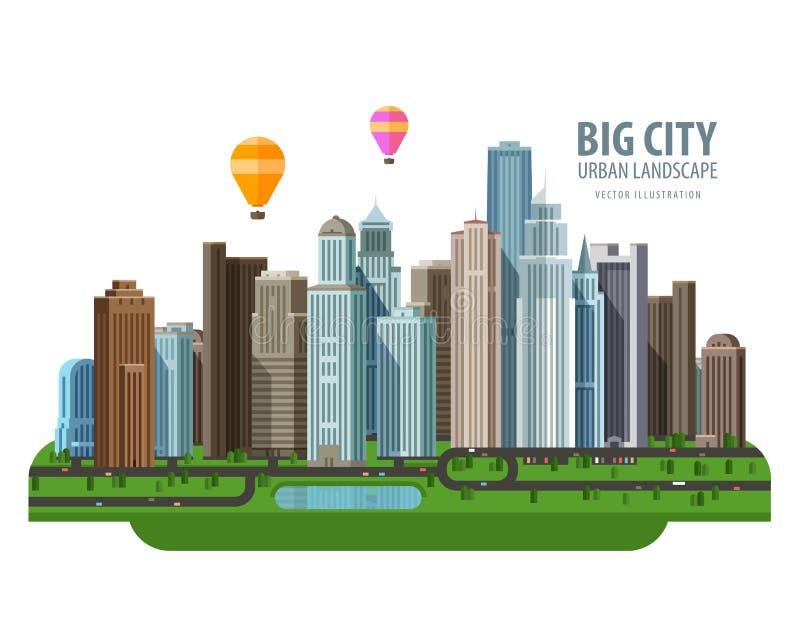 Grande modello di progettazione di logo di vettore della città costruzione royalty illustrazione gratis