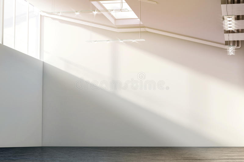 Grande modelo branco vazio da parede na galeria moderna ensolarada ilustração royalty free