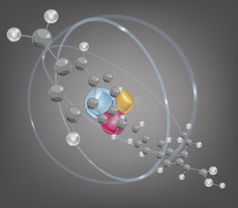 Grande molécule et structure atomique illustration stock