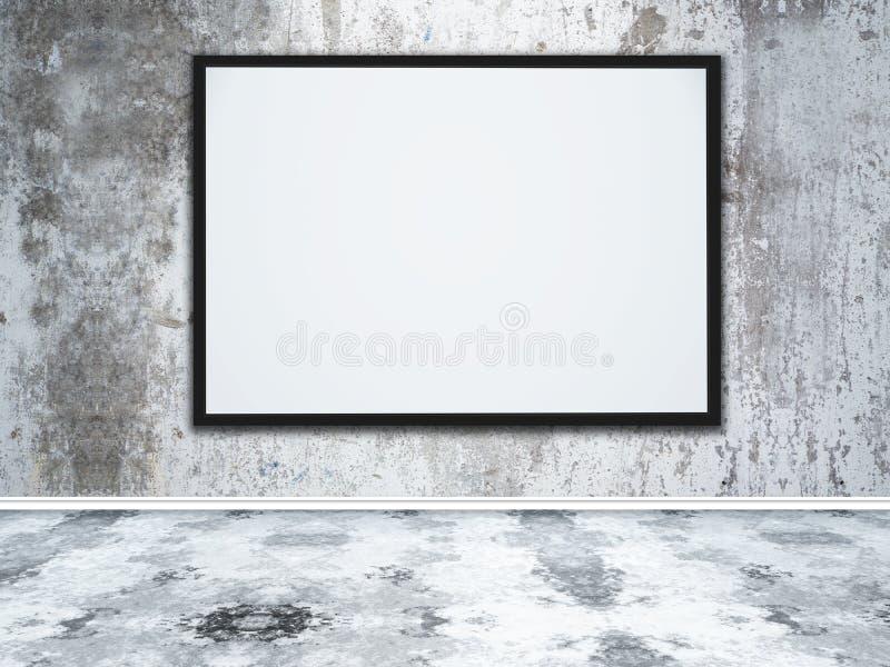 grande moldura para retrato 3D vazia em um interior concreto do grunge ilustração stock