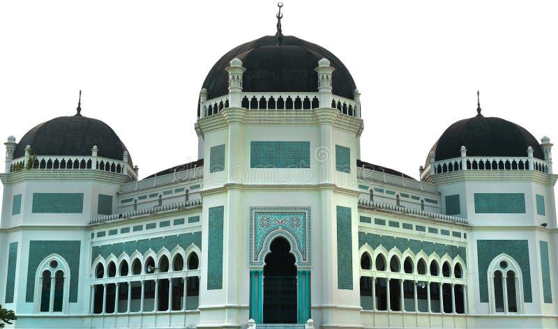 Grande moschea di Medan isolata su priorità bassa bianca fotografie stock