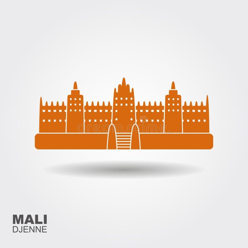 Grande mosquée de Djenne dans Farmantala au Mali Attraction plate de showplace de vue d'icône illustration libre de droits