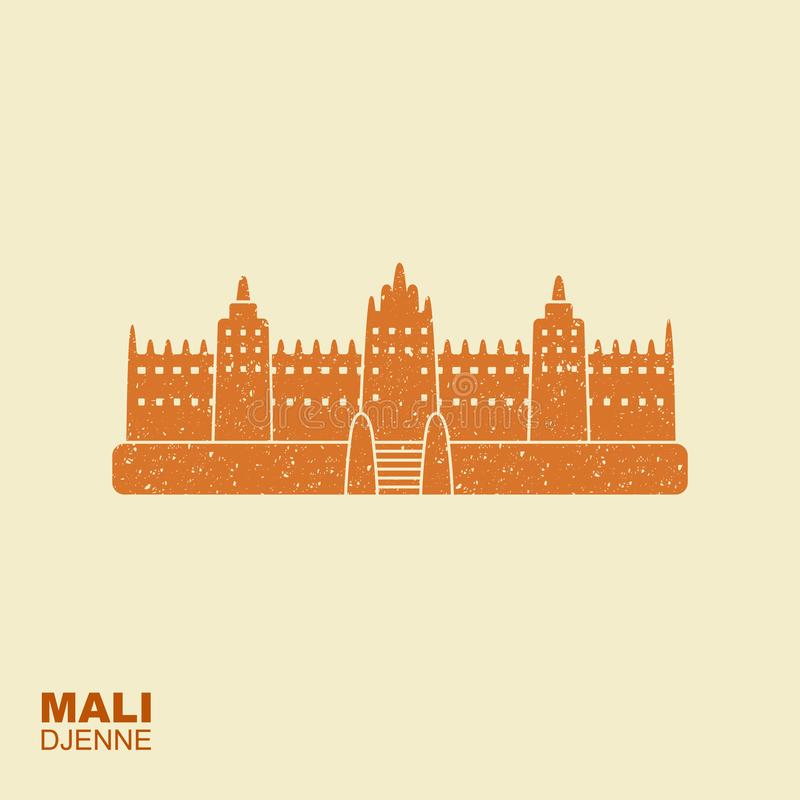 Grande mosquée de Djenne dans Farmantala au Mali Attraction plate de showplace de vue d'icône avec l'effet éraillé illustration stock