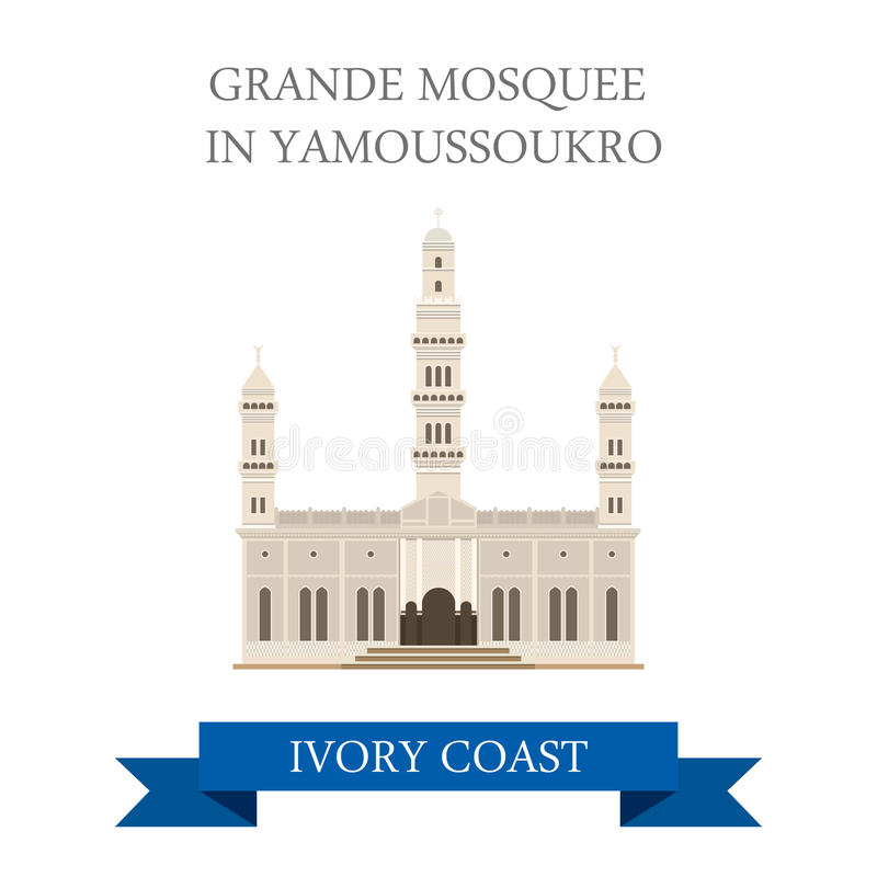 Grande Mosquee in Yamoussoukro Ivory Coast vector. Grande Mosquee in Yamoussoukro Ivory Coast. Flat cartoon style historic sight showplace attraction web site vector illustration
