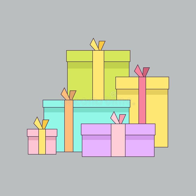 Grande mucchio dei contenitori di regalo avvolti variopinti royalty illustrazione gratis