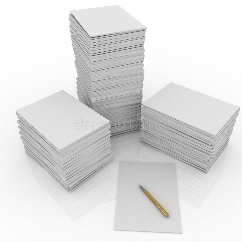 Grande mucchio di documento e della penna illustrazione vettoriale