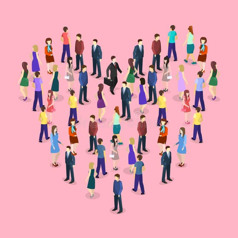 Grande multidão de povos que estão na forma do coração ilustração stock