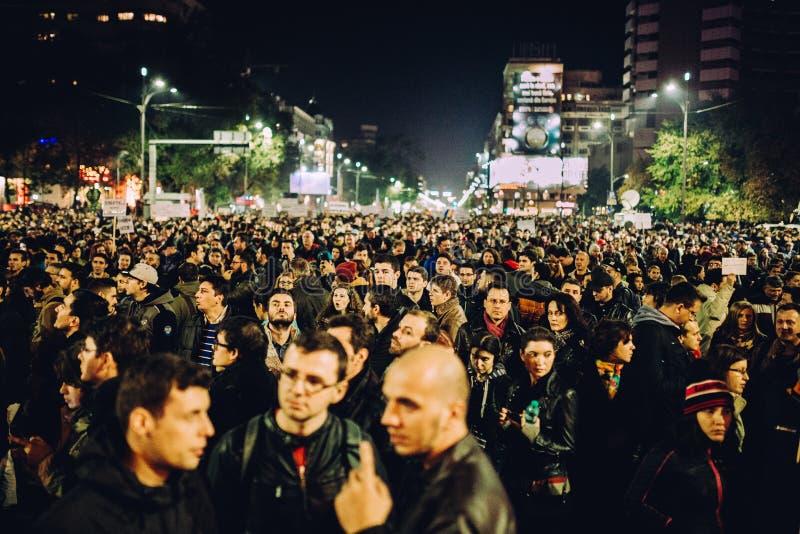 Grande multidão de protestadores fotografia de stock royalty free