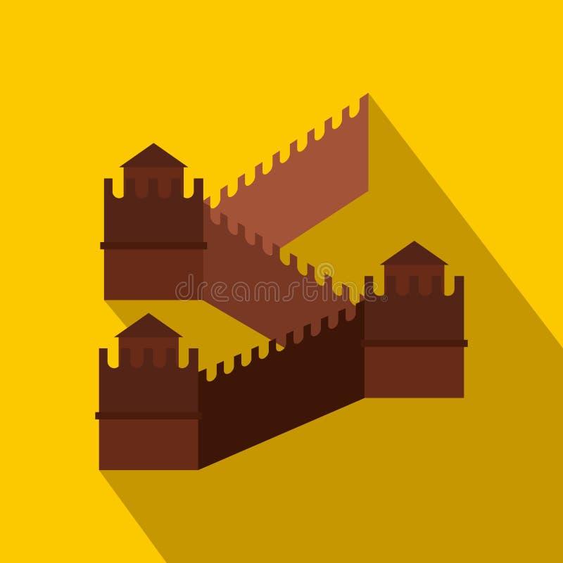 Grande muraglia dell'icona della Cina, stile piano illustrazione di stock