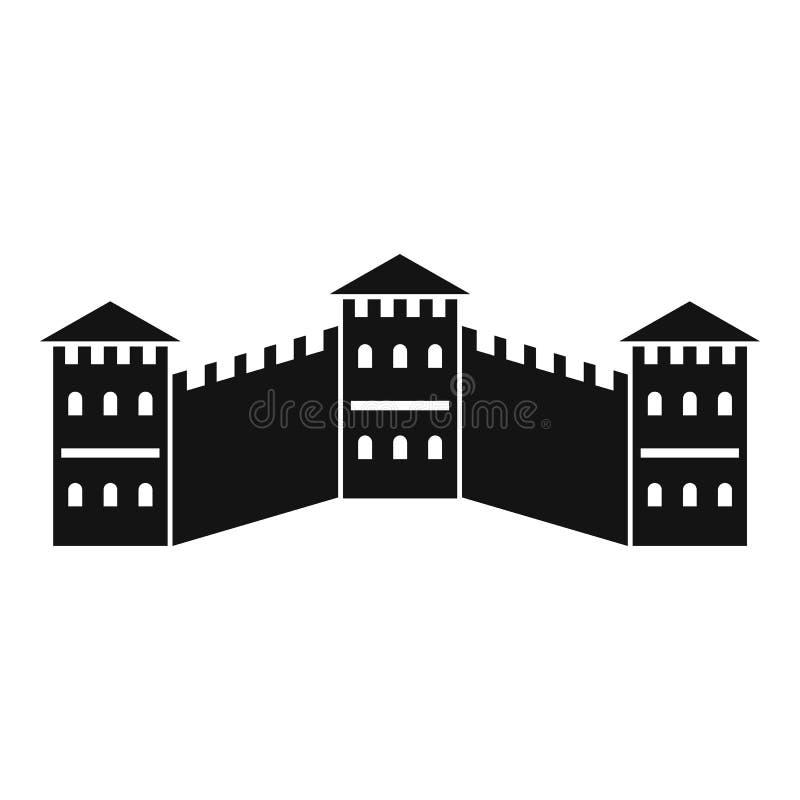 Grande muraglia dell'icona della Cina, stile semplice illustrazione vettoriale