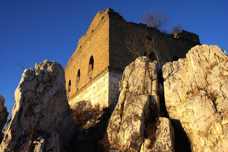 Grande Muraglia in montagna fotografia stock libera da diritti