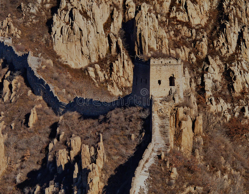 Grande muraglia selvaggia della Cina fotografie stock libere da diritti