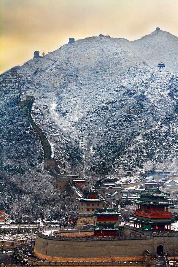 Grande Muraille dans la neige images libres de droits