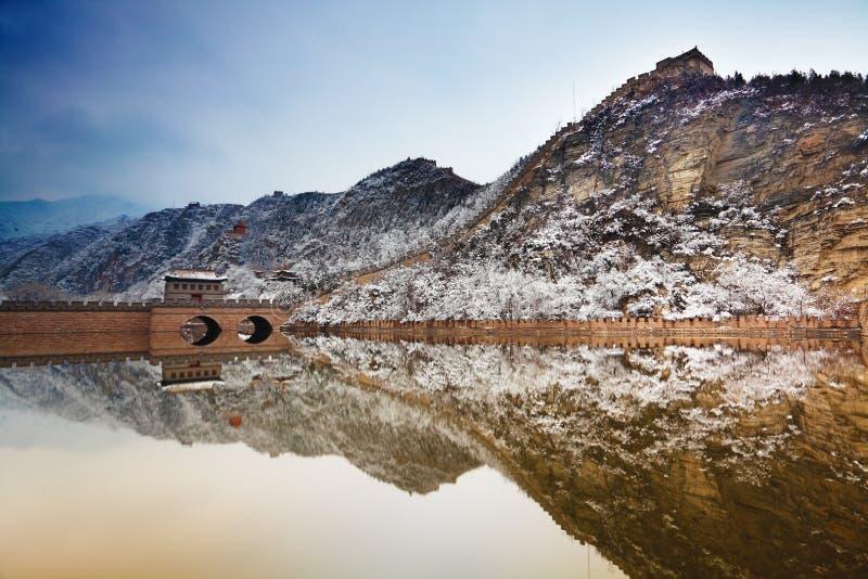 Grande Muraille dans la neige photographie stock