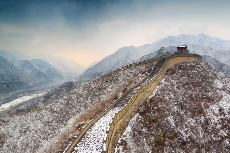 Grande Muraille dans la neige photographie stock libre de droits