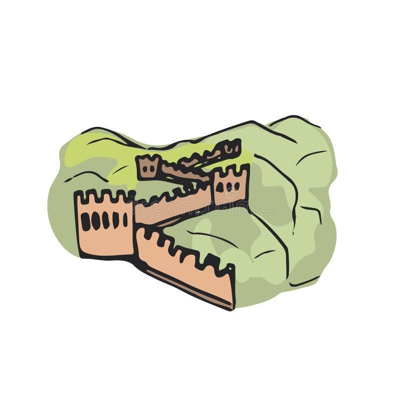 Grande Muraille de la Chine Graphisme de vecteur Illustration tirée par la main illustration de vecteur