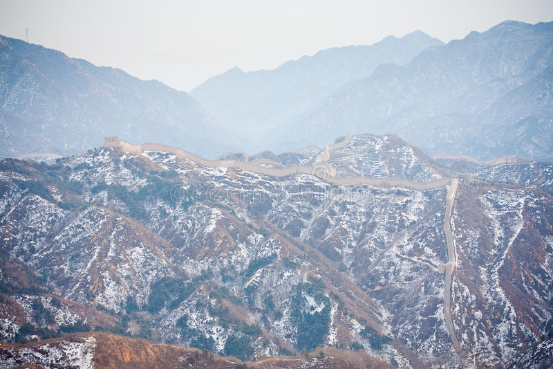 Grande Muralha chinês no inverno foto de stock