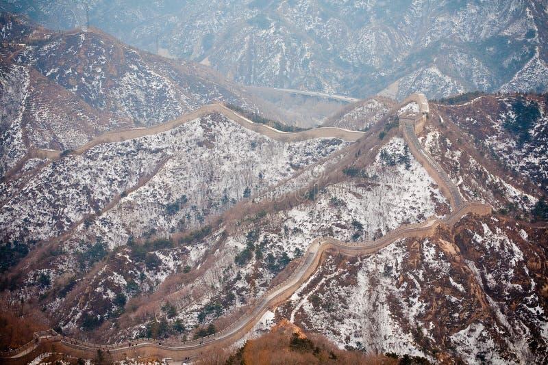 Grande Muralha chinês no inverno foto de stock royalty free