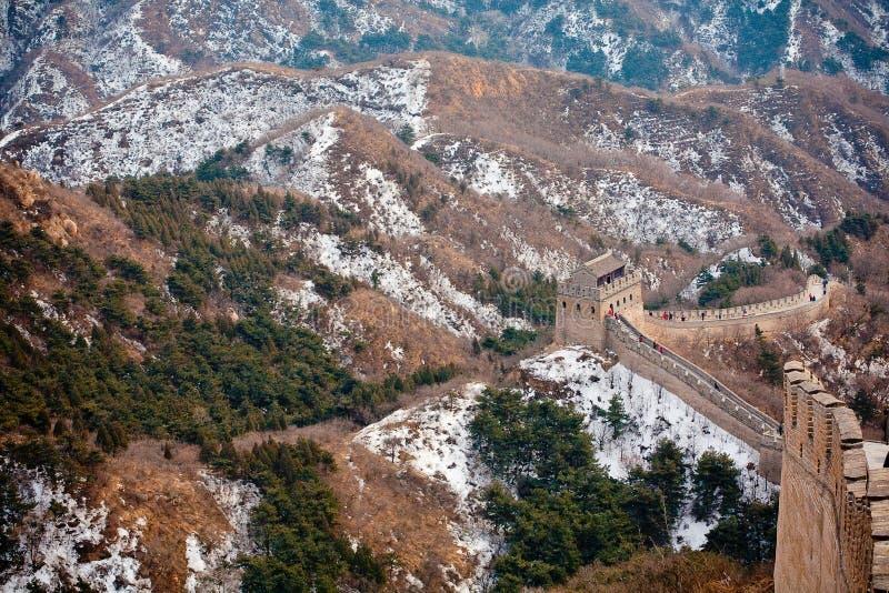 Grande Muralha chinês no inverno fotos de stock royalty free