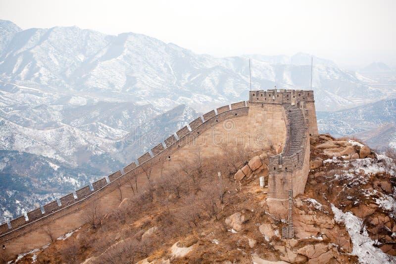 Grande Muralha chinês no inverno imagem de stock royalty free