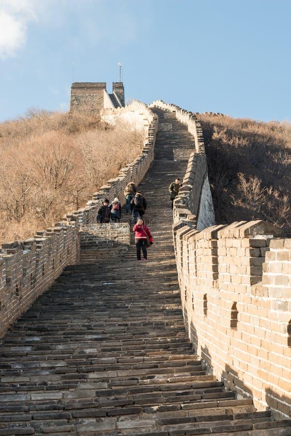 Grande Muralha de China - marrons do inverno do dia, olhando abaixo da parede serpenteando foto de stock royalty free