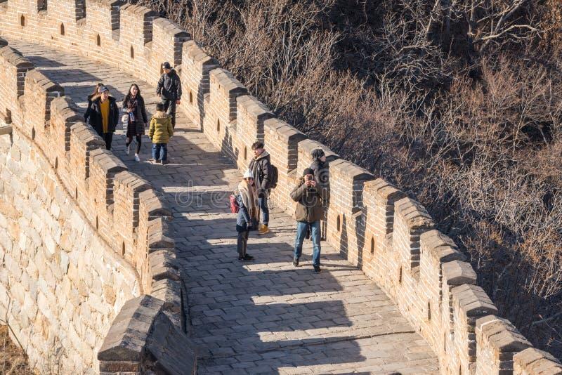 Grande Muralha de China - marrons do inverno do dia, olhando para baixo foto de stock royalty free