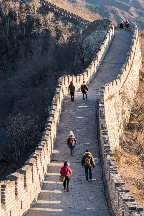 Grande Muralha de China - marrons do inverno do dia, olhando para baixo - sem povos reconhecíveis foto de stock royalty free