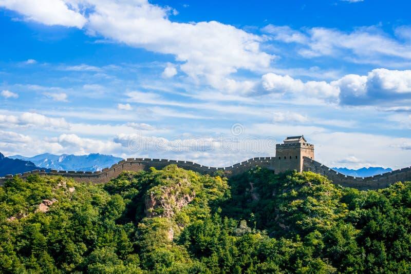 Grande Muralha de China no dia de verão, seção de Jinshanling, Pequim imagem de stock