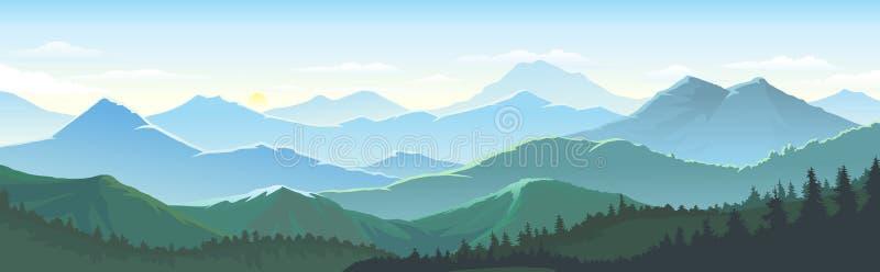 Grande número de montanhas, vastas paisagens que tocam os horizontes, céus e densa floresta esmagadora ilustração do vetor
