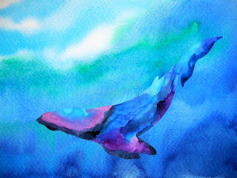 Grande natation de plongée de baleine dans la peinture bleue profonde d'aquarelle de mer d'océan illustration libre de droits