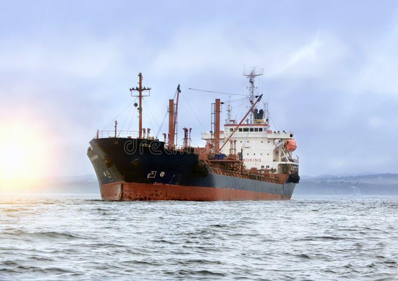 Grande nave da carico in mare immagine stock libera da diritti