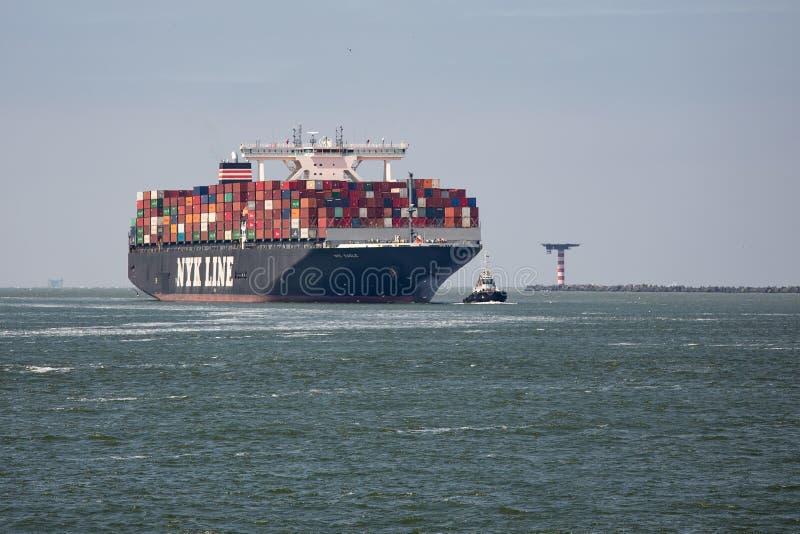 Grande navigation de navire porte-conteneurs avec le remorqueur dans le port néerlandais Rotterdam image libre de droits